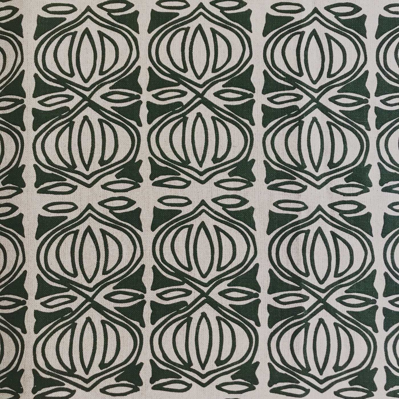 Holiday Fabric Emerald on Natural greige textiles