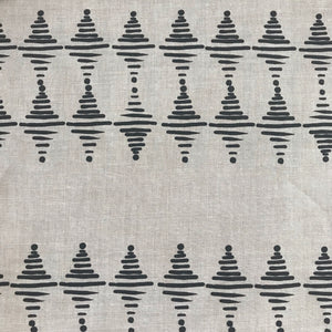 greige textiles micro batch textiles hand printed in California Stacked in pepper on oatmeal, to the trade