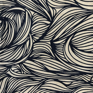 Trina Fabric Black on Natural greige textiles