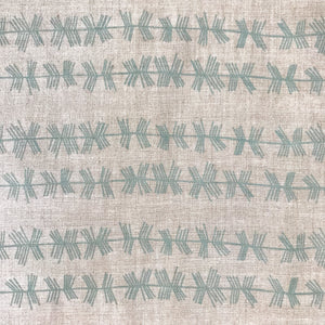 Stick Stripe fabric Bluegrass on Oatmeal greige textiles