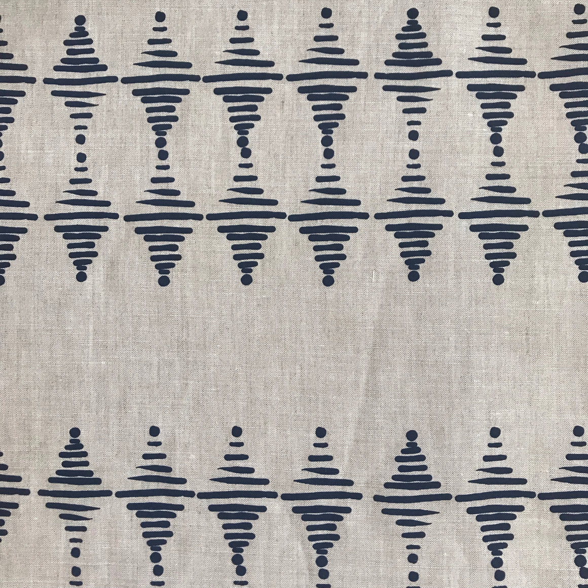 greige textiles micro batch textiles hand printed in California Stacked in indigo on oatmeal, mix with vintage indigo