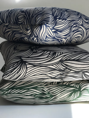 Trina Fabric Emerald on Natural greige textiles pillow hand made in california