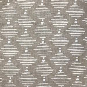 Hinkley fabric white on oatmeal greige textiles