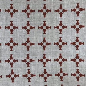 CanCan Fabric Burnt Orange on Oatmeal