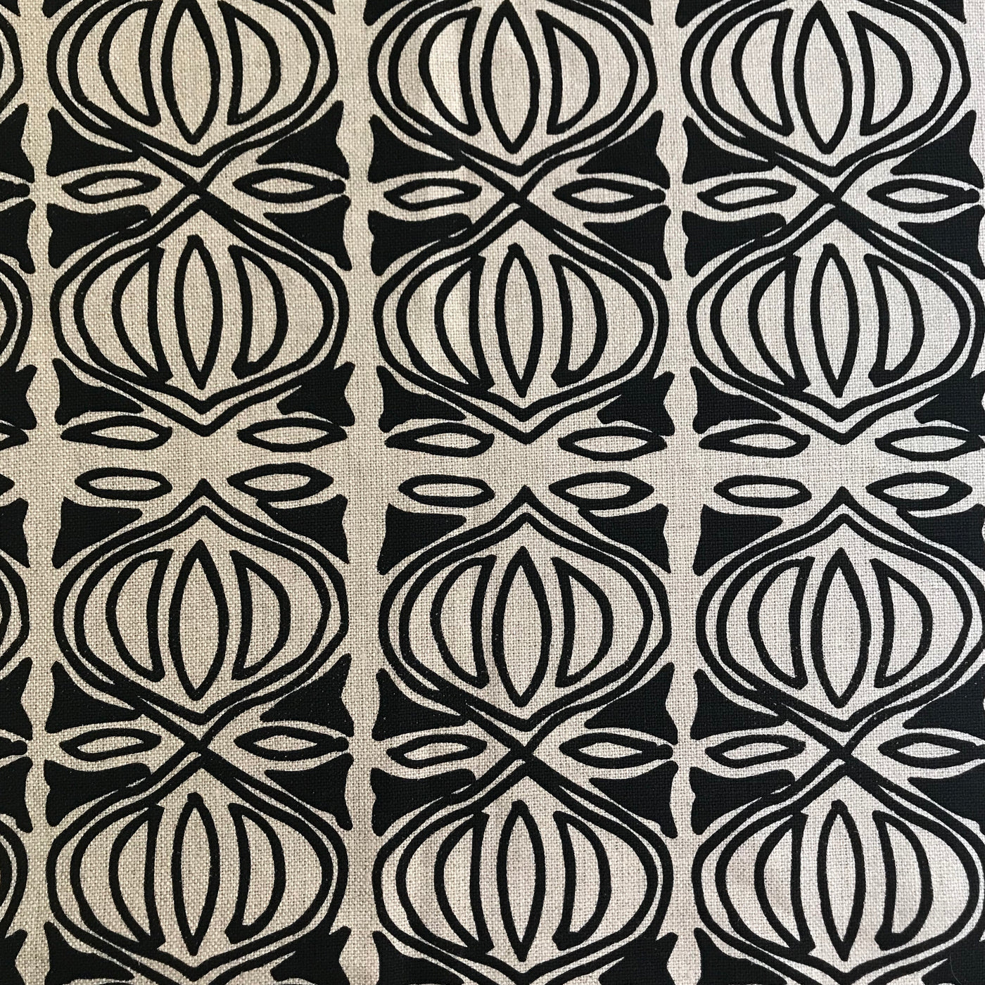 Holiday Fabric Black on Natural greige textiles