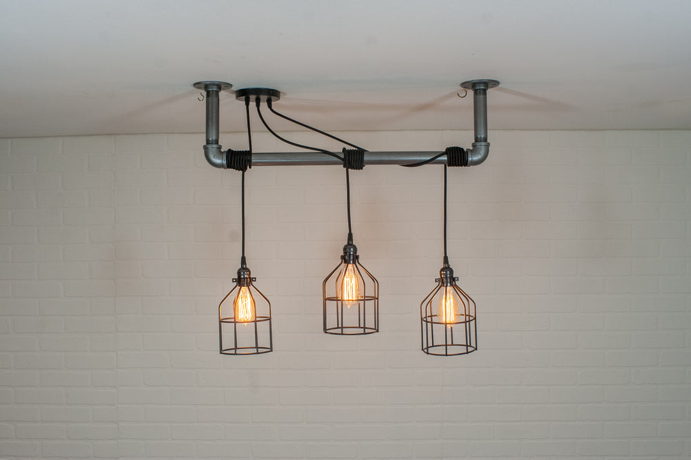 3 Pendant Pipe Light with Cages