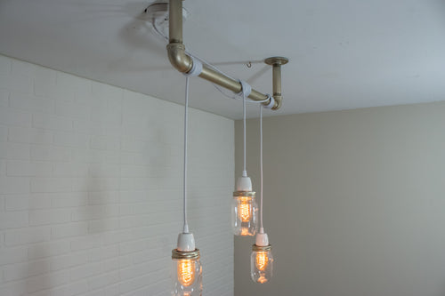 3 Pendant Pipe Light with Mason Jars
