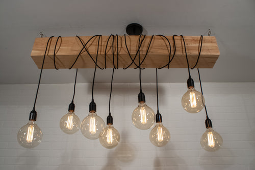 NATURAL WOOD BEAM WITH 8 PENDANTS