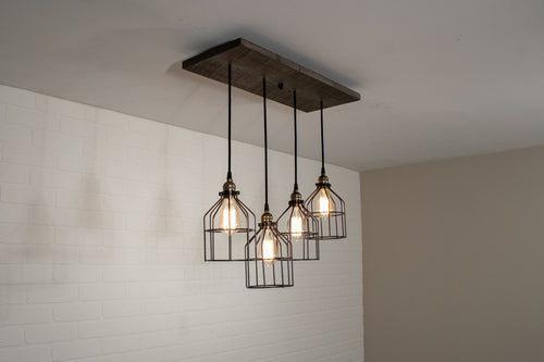 4 Pendant Wood Light with Cages