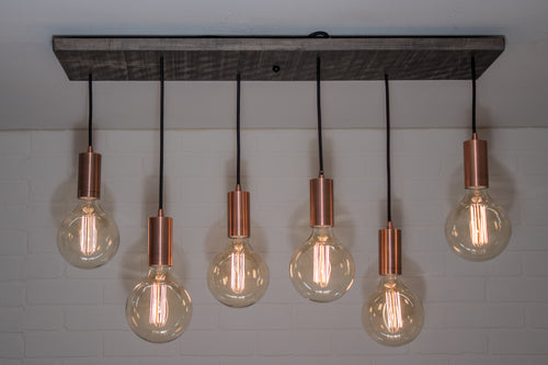 6 Pendant Wood Light Fixture