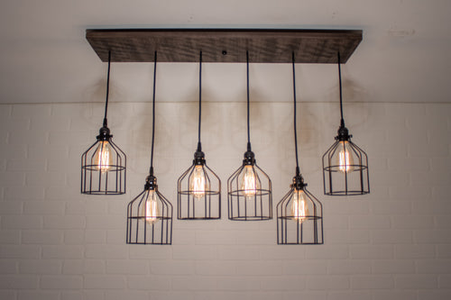 6 Pendant Wood Chandelier