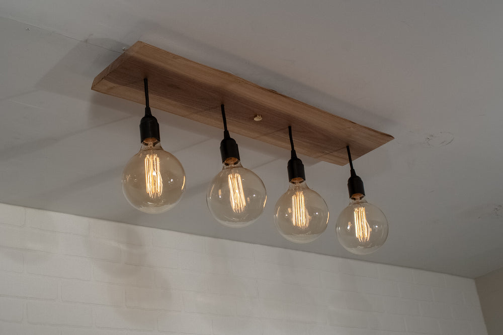 Short 4 Pendant Walnut Light