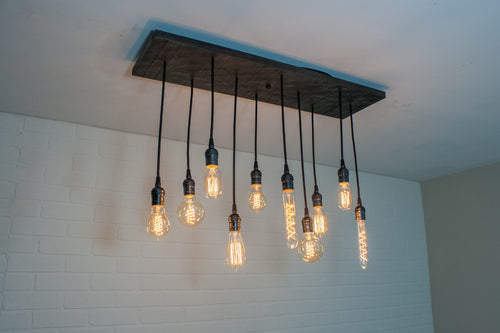 Wood Light with 10 Pendants