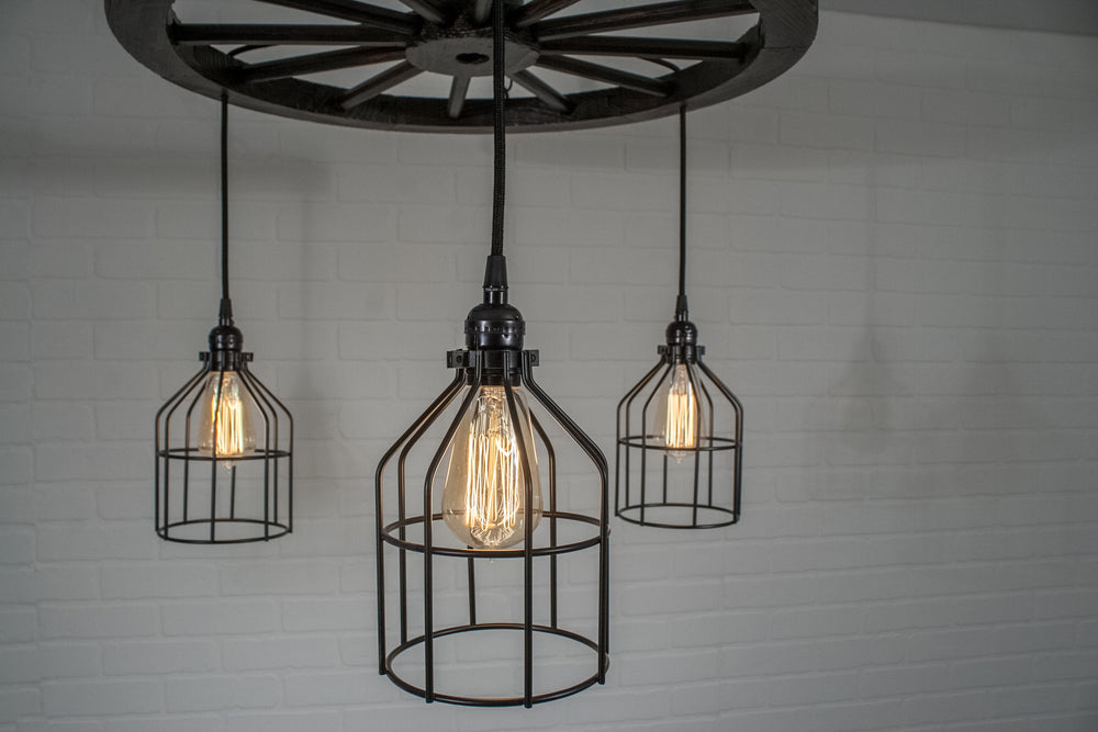 3 Pendant Wagon Wheel Light