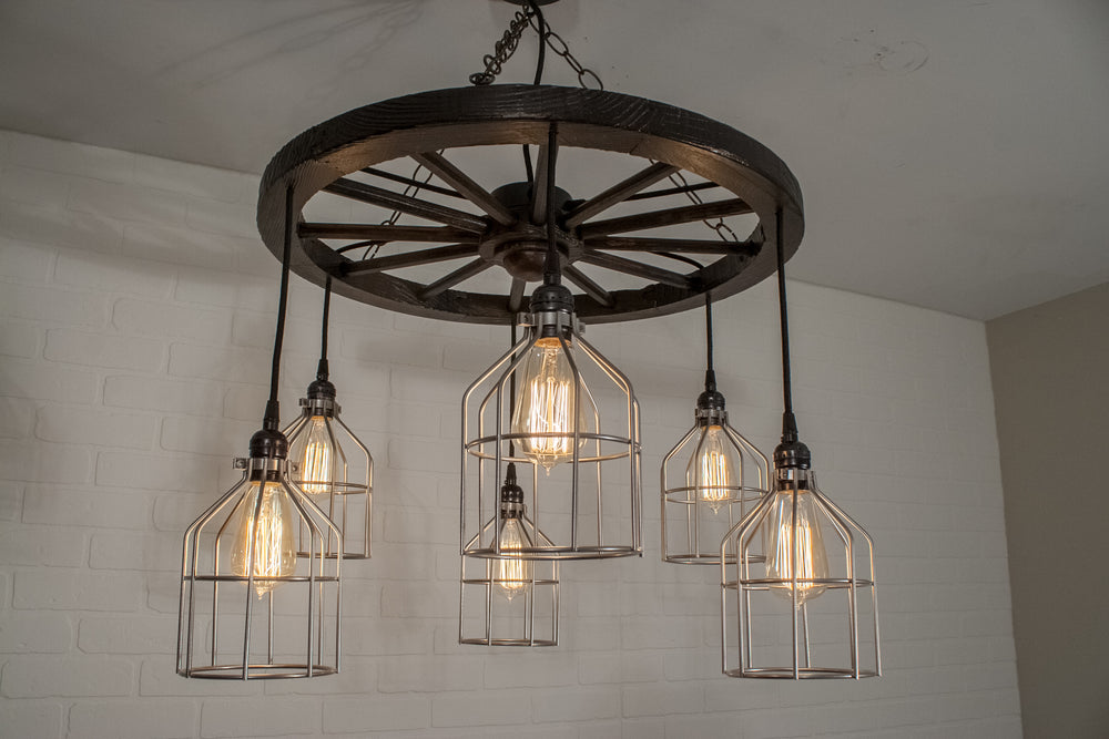 6 Pendant Wagon Wheel Light with Cages