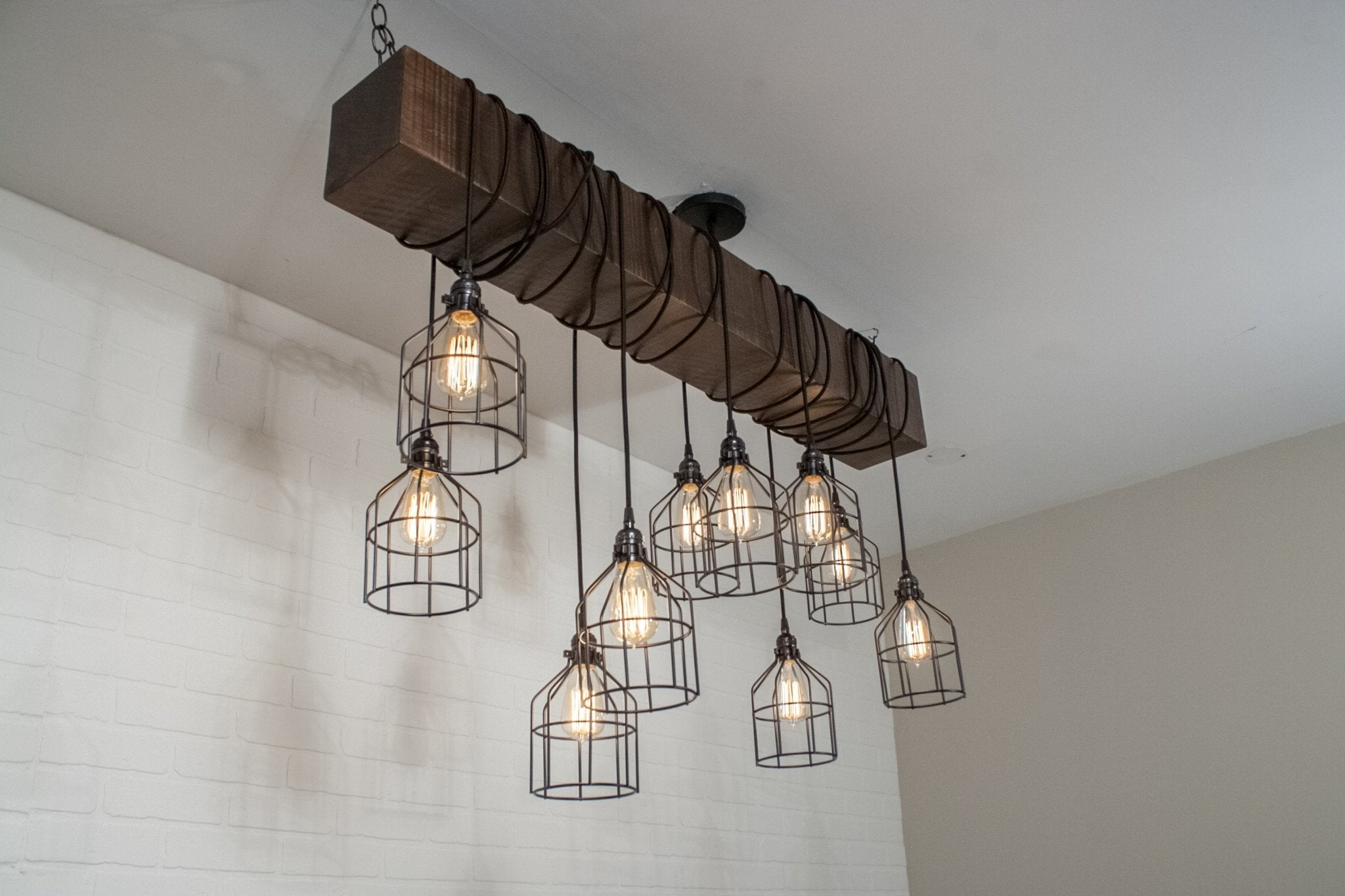 10 Pendant Wood Beam Light Fixture with Cages - Loewen Design Studios