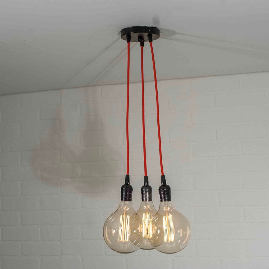 3 Bulb Cluster Pendant Lighting with Red Cords - Loewen Design Studios