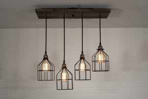 4 Pendant Wood Light Fixture with Cages - Loewen Design Studios