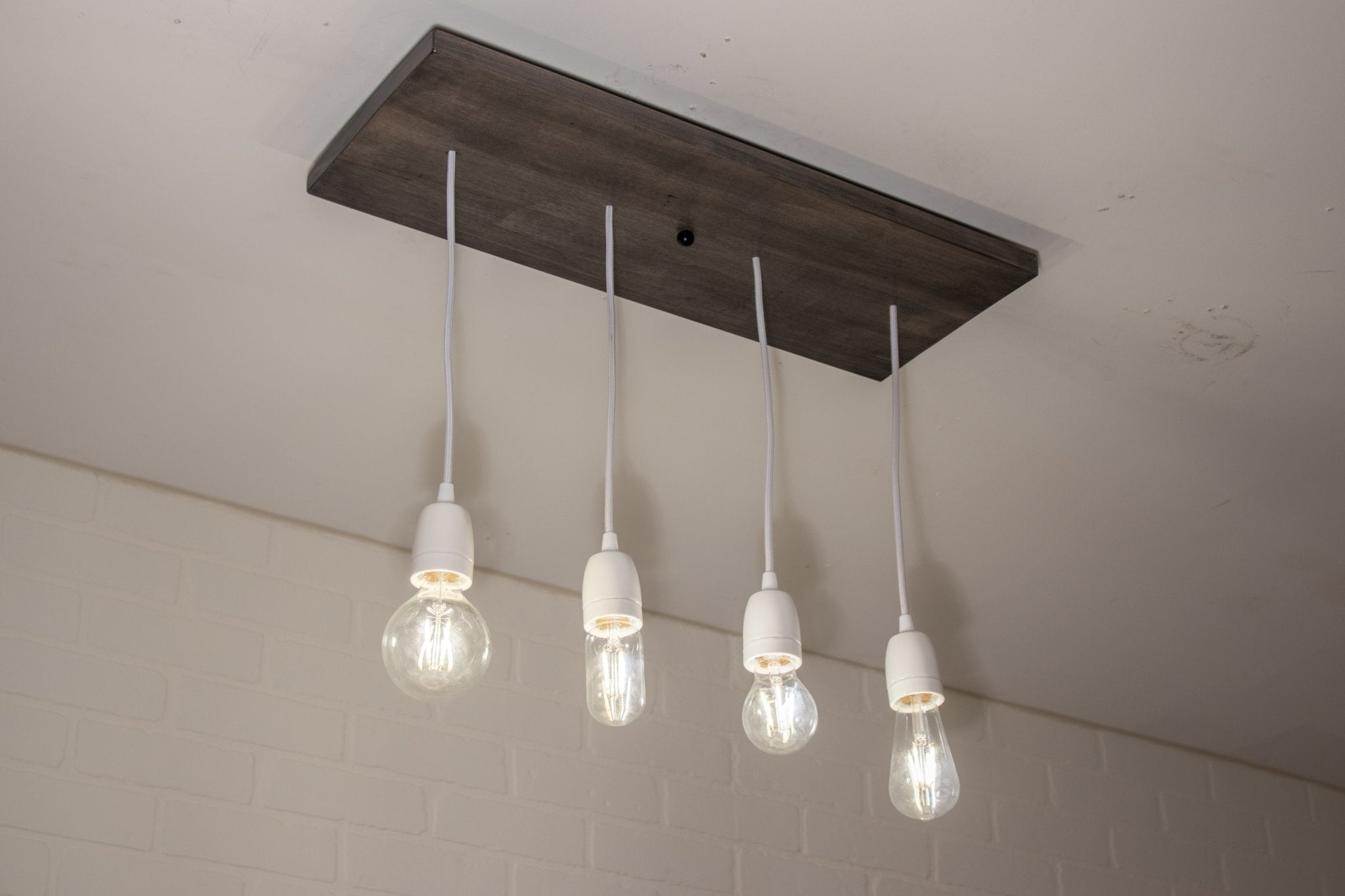 4 Pendant Wood Light with Ceramic Sockets - Loewen Design Studios