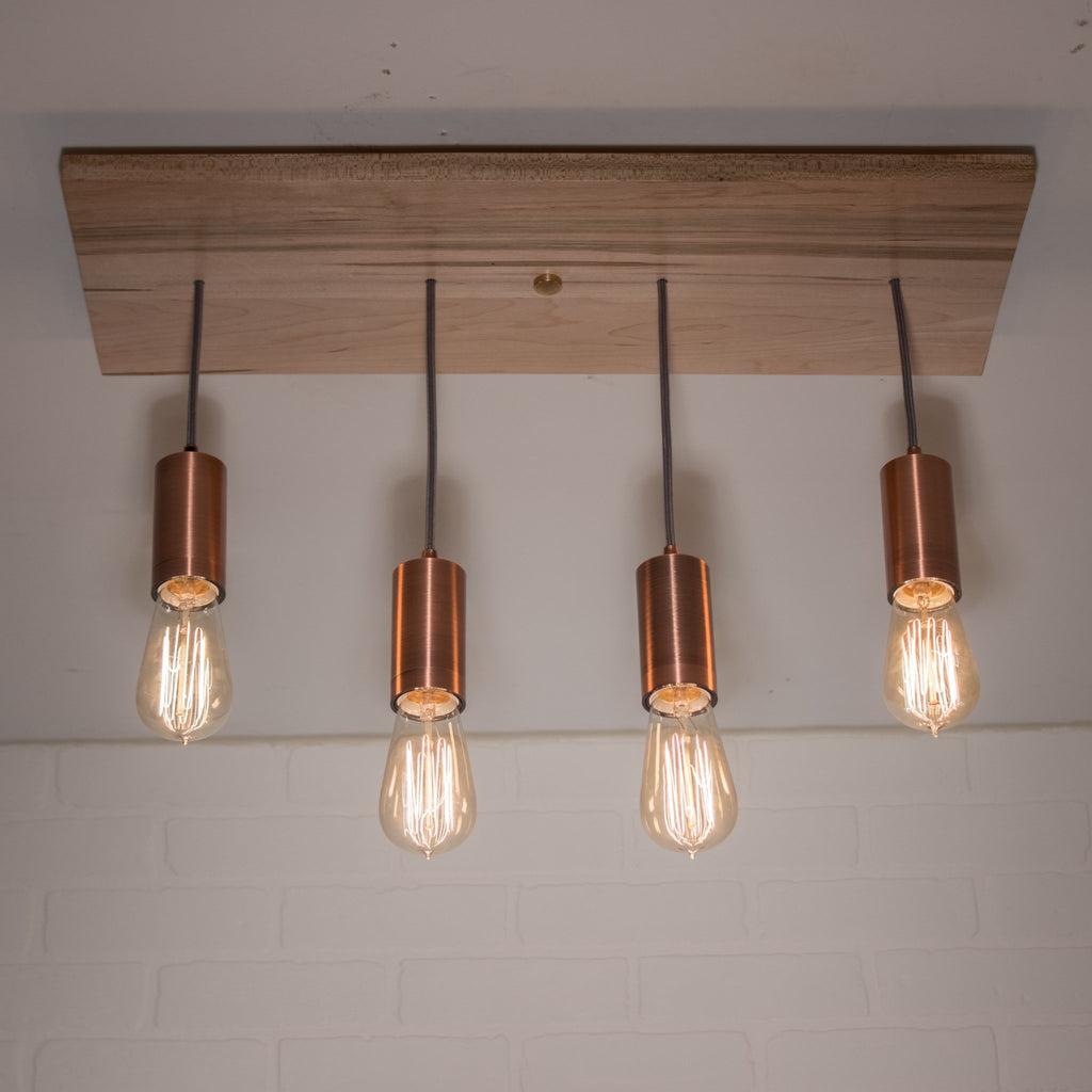 4 Pendant Wood Light with Copper Sockets - Loewen Design Studios