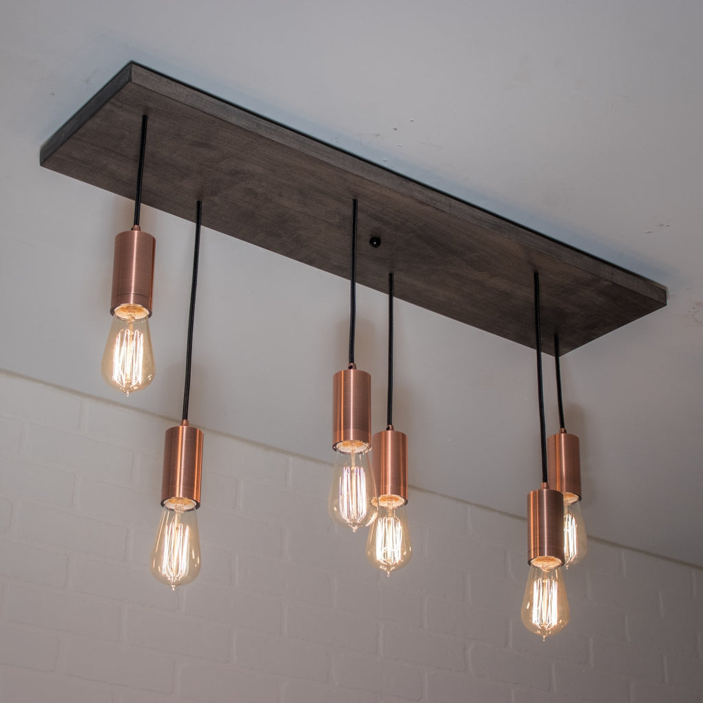 6 Pendant Wood and Copper Light - Loewen Design Studios