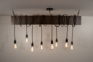 8 Pendant Wood Beam Light Fixture - 3ft beam - Loewen Design Studios
