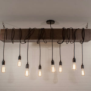 8 Pendant Wood Beam Light Fixture - Loewen Design Studios