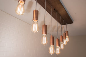 8 Pendant Wood Chandelier with Copper Sockets - Loewen Design Studios