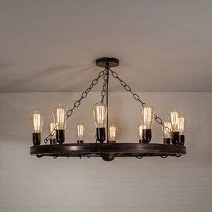 12 Bulb Wagon Wheel Light Fixture