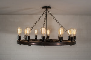 wagon wheel light with 12 Edison bulbs