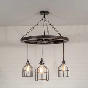 3 pendant wagon wheel rustic light fixture