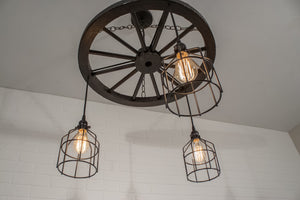 rustic kitchen light fixture with 3 pendants