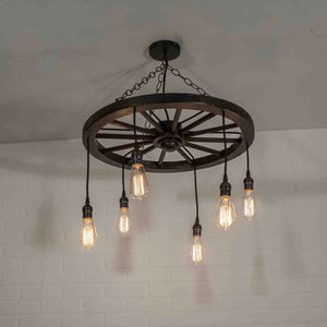 6 pendant farmhouse light fixture on a wagon wheel