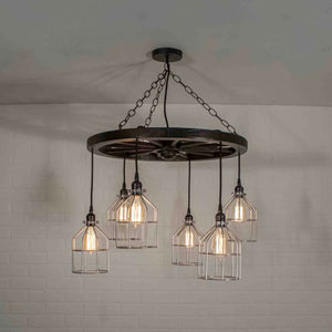 6 pendant wagon wheel chandelier with cages
