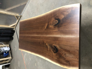 Book match walnut live edge table for Hiro - Loewen Design Studios