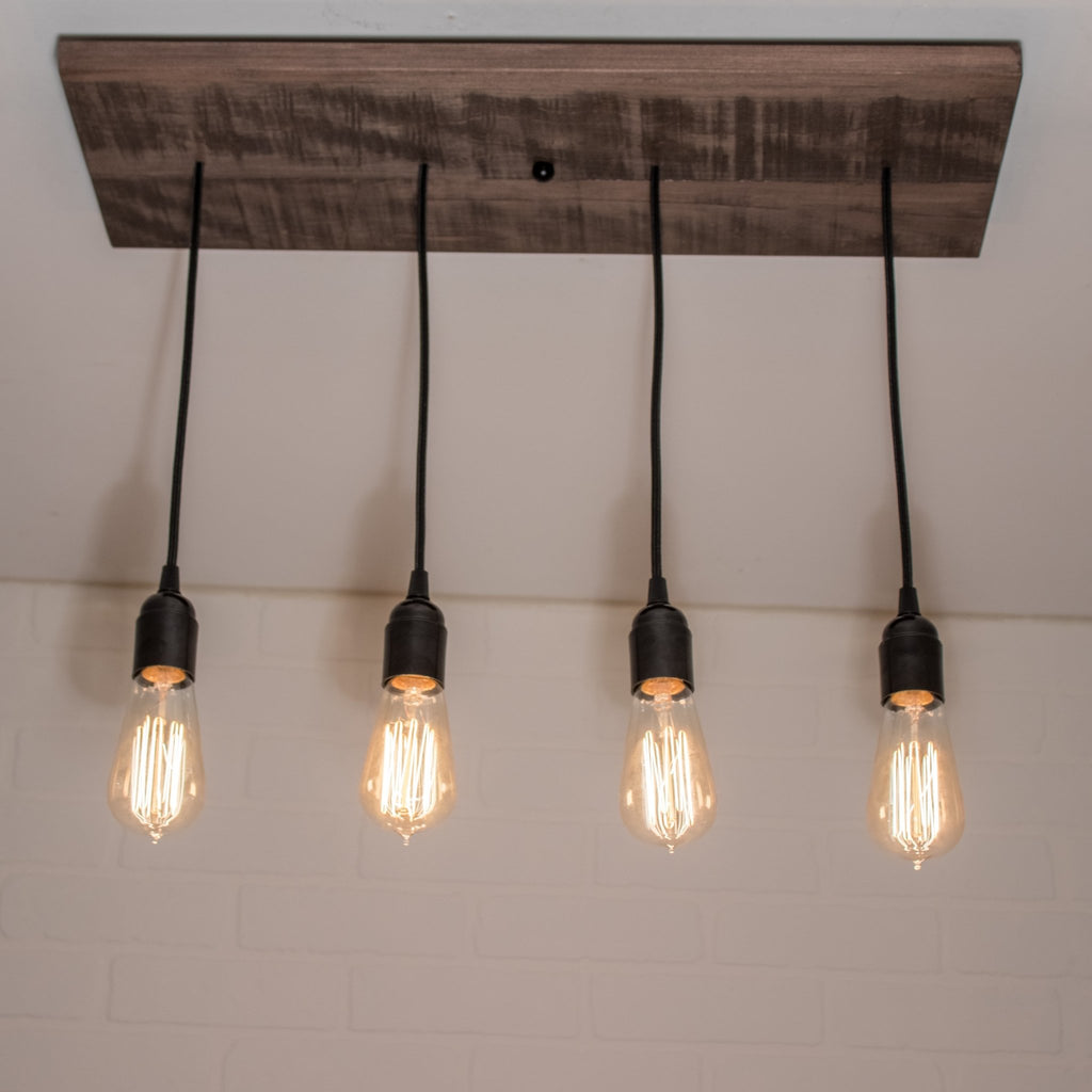 Brown Wood Chandelier with 4 Edison Pendants - Loewen Design Studios