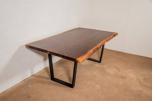 Custom live edge book match walnut dining table for Randy - Loewen Design Studios