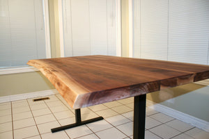 Custom live edge walnut on T legs - Loewen Design Studios