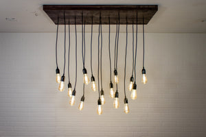 Flush Mount Wood Ceiling Light with 16 Pendants - Loewen Design Studios