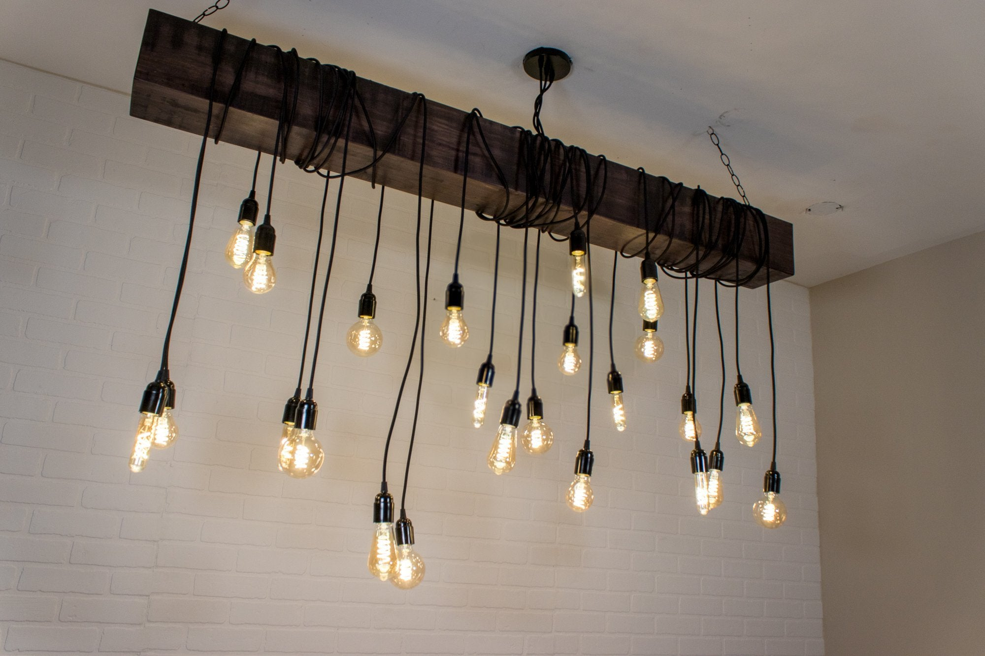 Large Wood Beam Light with 24 Dimmable LED Pendants - Loewen Design Studios