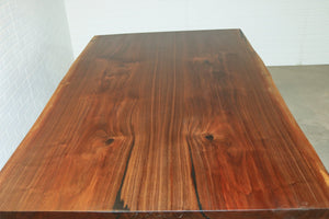 Live edge book match walnut table with panel legs for Lisa - Loewen Design Studios