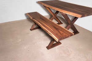 Live Edge Walnut Bench on Walnut X Leg - Loewen Design Studios