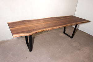 Live edge walnut dining table on black angle for Adi - Loewen Design Studios