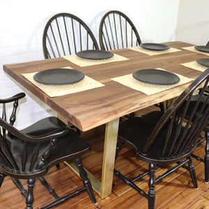 Live Edge Walnut Dining Table on Gold Steel Legs - Loewen Design Studios