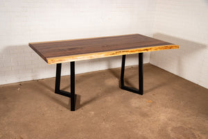 Live Edge Walnut Dining Table on Steel Chevron Legs - Loewen Design Studios