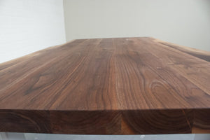 Live Edge Walnut Dining Table on White Steel Legs - Loewen Design Studios