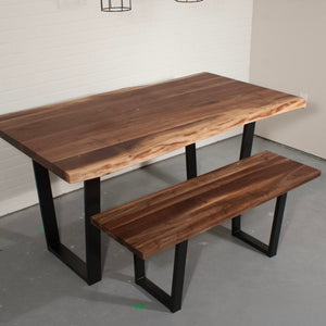 Live Edge Walnut Table and Bench Set - Loewen Design Studios