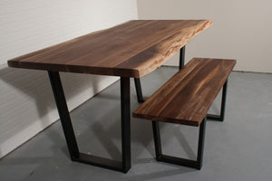 Live Edge Walnut Table and Bench Set for Dana - Loewen Design Studios