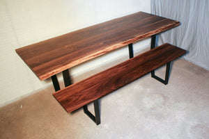 Live edge walnut table and two live edge walnut benches for Heather - Loewen Design Studios