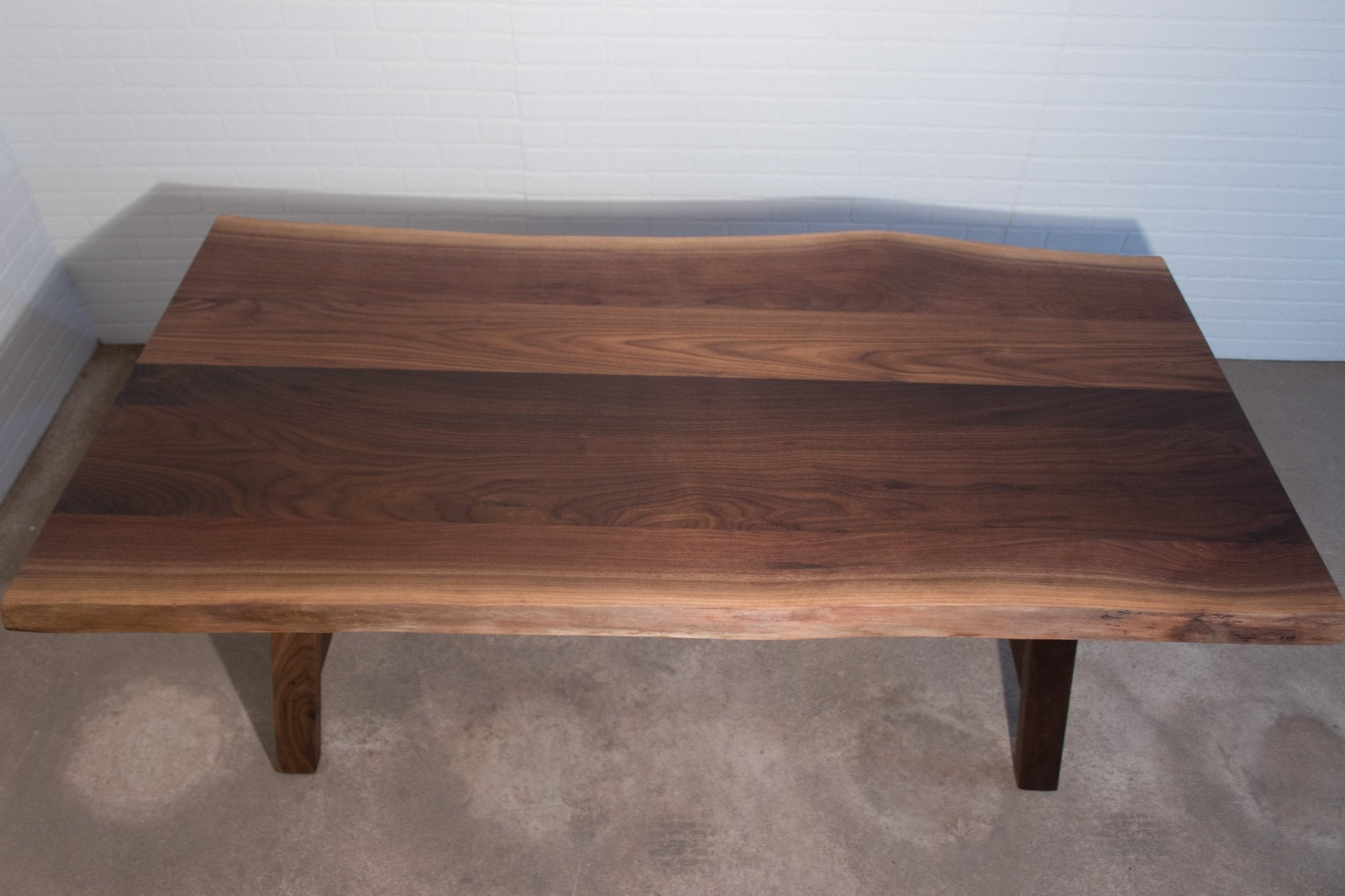 Live Edge Walnut Table on Walnut H Legs - Loewen Design Studios